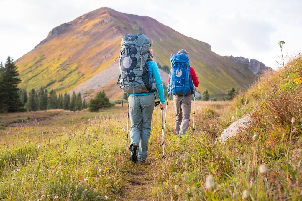 Matt Vodjansky and Ashley Buttelmann backpack along the Colorado Trail near Kennebec Pass, CO